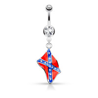 Confederate Flag Navel Ring Dangle Double Jeweled Rebel 316L Surgical Steel Belly Button Rings