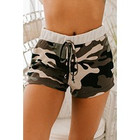 She's In Charge Camo Waffle Knit Shorts (Brown)