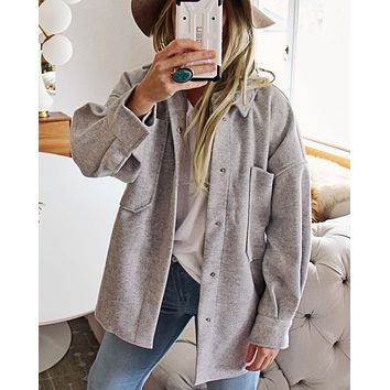 Dried Sage Shirt Jacket in Gray