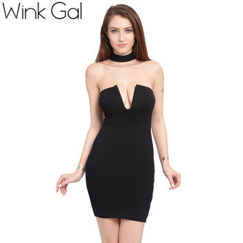 Wink Gal Bodycon Bandage Dress Ladies Dresses Off Shoulder Hollow Out  Robe Womens Sexy Party Night Club Dress 3200