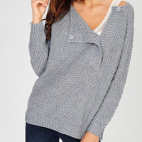 Gray One Button Sweater Top