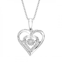 Sterling Silver Rhythm of Love Heart Shaped Diamond Necklace