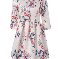 Vintage Round Neck Floral Printed 3/4 Sleeve Fit and Flare Dress