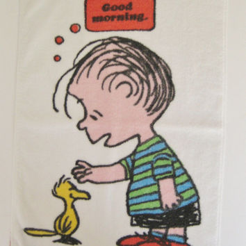 Vintage Peanuts Linus Woodstock Hand Towel Pure Cotton Good Morning Hand Towel Kitchen Towel Tastemaker Made in USA Clean USED
