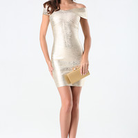 bebe Womens Brushed Foil Bandage Dress Tapioca Gold