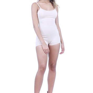 Essential Basic Spaghetti Strap Sleeveless Scoop Back Bodycon Romper