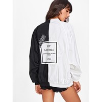 Black And White Stand Collar Colorblock Oversized Jacket