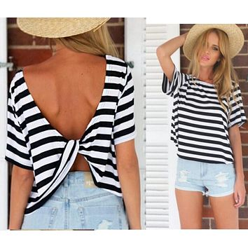 Striped Backless Back Cross Casual Top T-shirt