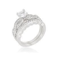 Pana Infinity Twist Engagement and Wedding Ring Set | 2.5 Carat | Cubic Zirconia