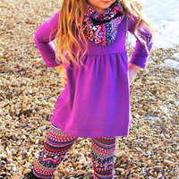 New Arrival Purple Aztec 3 Piece Warm Winter Tribal Outfit For Little Girls Infants Toddler Kids Clothes Trendy Little Girl Clothing