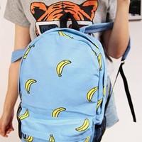Fashion Blue Banana Print Canvas Backpack from styleonline