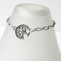 Silver Tree of Life Bracelet, Silver Charm Chainmaille Bracelet, Bridsmaids, Friends, Sisters, Mothers Daughters Gifts