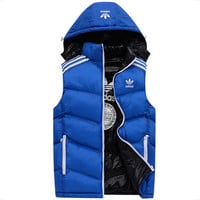 ADIDAS Clover autumn and winter down men's vest vest windproof waterproof vest Blue