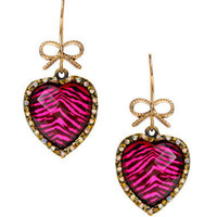 LEOPARD HEART DROP EARRINGS - Betsey Johnson