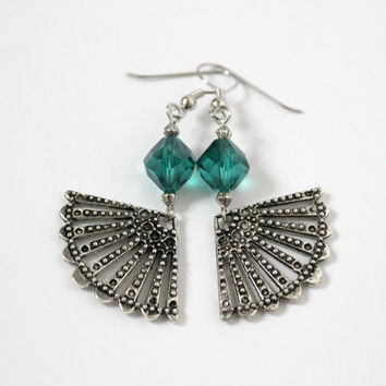 CLEARANCE - Long Teal Green and Silver Dangle Fan Earrings - Handmade Beaded Jewelry - Ready to Ship