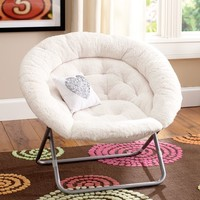 Ivory Sherpa Hang-A-Round Chair
