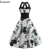 Summer Dress Casual Floral 50s 60s Retro Vintage Dress Women Robe Rockabilly Swing Pinup Vestido Sexy Elegant Party Dresses