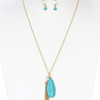 Natural Stone Earring & Necklace Set
