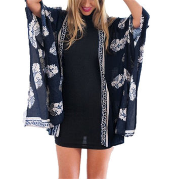 Hot Summer Style Blusas 2016 Women Vintage Casual Loose Batwing Sleeve Blouse Tops Printed Kimono Cardigan Plus Size