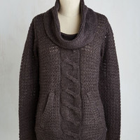 Mid-length Long Sleeve Pullover and Above Sweater