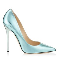 Cool Mint Etched Mirror Leather Pointy Toe Pumps | Anouk | Pre Fall 15 | JIMMY CHOO Shoes