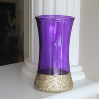 Purple Glass Vase, Purple Centerpiece, Gold Centerpiece, Gold Vase, Purple Wedding Decor, Christmas Decor, Purple Vase, Wedding Centerpiece