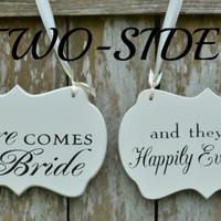 Two Sided Shabby Chic Here Comes the Bride / and they lived Happily Ever After Wedding Sign, Wooden Flower Girl / Ring Bearer Sign