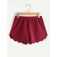 Elasticized Waist Scallop Edge Textured Shorts Burgundy