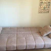 Suede Tan Couch Sofa Full Size Bed - Like New $220