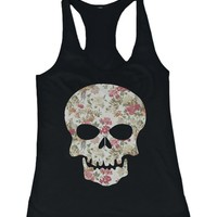 Floral Skull Women's Tank Top Flower Pattern Design Racer back Tank for Halloween