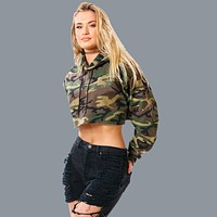 Camouflage Long Sleeves Hooded Crop Top Hoodie