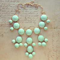 Pree Brulee - Soft Mint Faceted Bauble Necklace