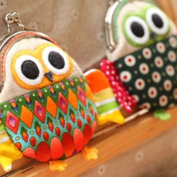 Cute magical orange owl clutch purse