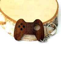 Wooden Gamepad, Xbox controller, PS4 Controller, Video games, Controller sign Keychain, Nerd Gift Keychain, Friendly Green materials