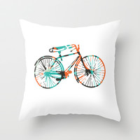 Bicycle Throw Pillow by Kelly Stahley Designs