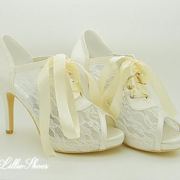 Shoes ~ Peep toe ankle shoes ~ Wedding, Bridal, Bridesmaid, Mother of the Bride, Flower Girl, Prom, Graduation, Spring, Summer, Autumn
