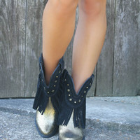 Very Volatile Rue Bourbon Black & Gold Fringe Ankle Boot With Studs