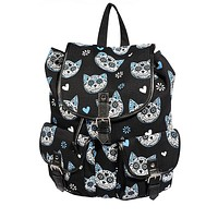 Blue Muertos Kitty Canvas Backpack