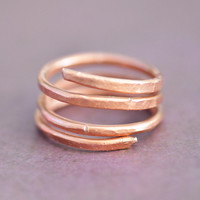 Hammered Copper Wire Textured Ring, Abstract Wrap Thumb and Pinky Ring, Artisan Womens Mens Unisex Jewelry