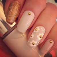 Pink and gold glitter square gel nails