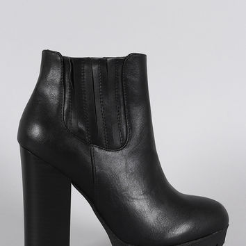 Bamboo Slit Gores Platform Chunky Heel Lug Sole Ankle Boots