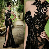 Elegant Beaded Stunning Black Lace Evening Dresses Mermaid Sexy Split Side Party Gowns