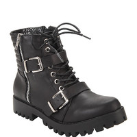 Black Lace-Up & Buckle Strap Ankle Boot