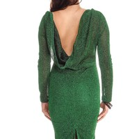 GREEN GLITTER LONG SLEEVE SCOOP NECKLINE SHOWS BACK PARTY DRESS