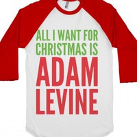 All I Want For Christmas Is Adam Levine-Unisex White/Red T-Shirt