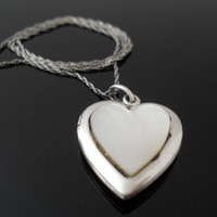 Heart Locket Necklace, Sterling Silver Necklace, Mother Of Pearl MOP Heart, 925 Heart Locket, 19 Inch Necklace, 925 Heart Necklace, Locket