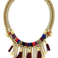 Women's Vince Camuto 'Belle of the Bazaar' Tassel Bib Necklace - Worn Gold/ Rhubarb/ Blue/ Wood