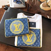 Louis Vuitton LV new embroidery retro cotton patch round neck T-shirt couple loose large size short sleeves