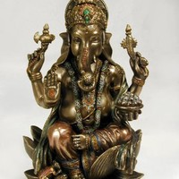 Ganesh (Ganesha) Hindu Elephant God of Success Real Bronze Powder Cast Statue, 7 1/4-inch