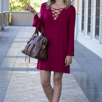 Liana Burgundy Lace Up Long Sleeve Dress